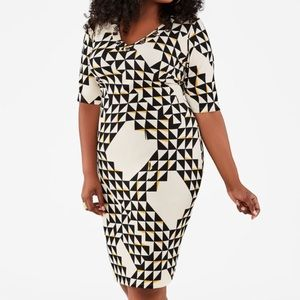 🆕 Ashley Stewart Diamond Print Sheath Dress 14/16